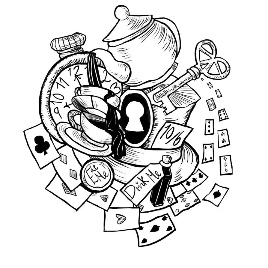 894x894 Alice In Wonderland Tattoo By Plushymcmuffin