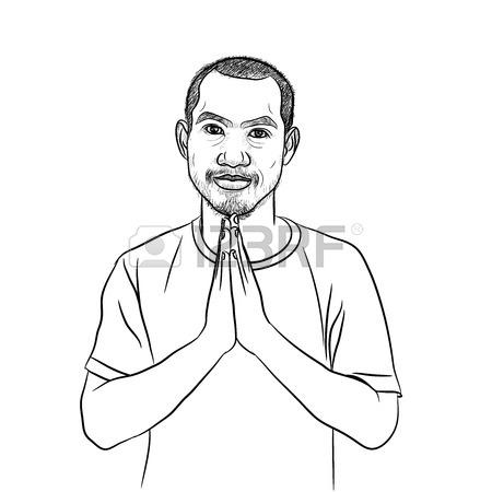 450x450 Drawing Of Asian Man On Salute Pose,giving Respect In Thai Culture