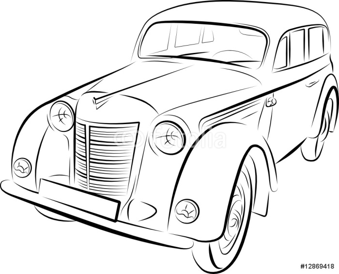 700x565 Drawing Of The Retro Car, Vector Illustration Wall Mural Pixers