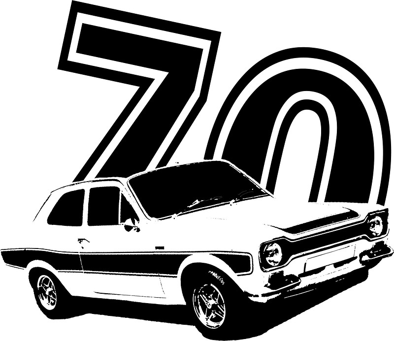 800x693 Escort 70' Retro Classic Cars Men's T Shirt Stickers By
