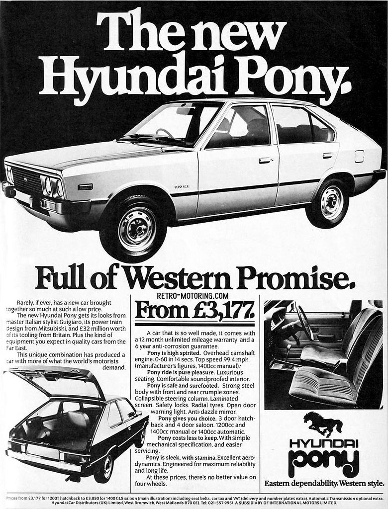 780x1024 Hyundai Pony Retro Advert Click For Retro Motoring