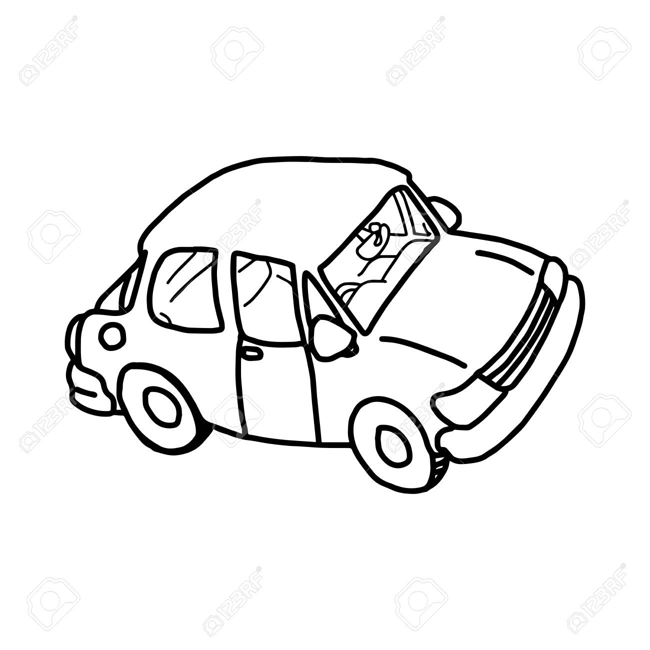 1300x1300 Illustation Vector Hand Drawn Doodle Of Retro Car Isolated