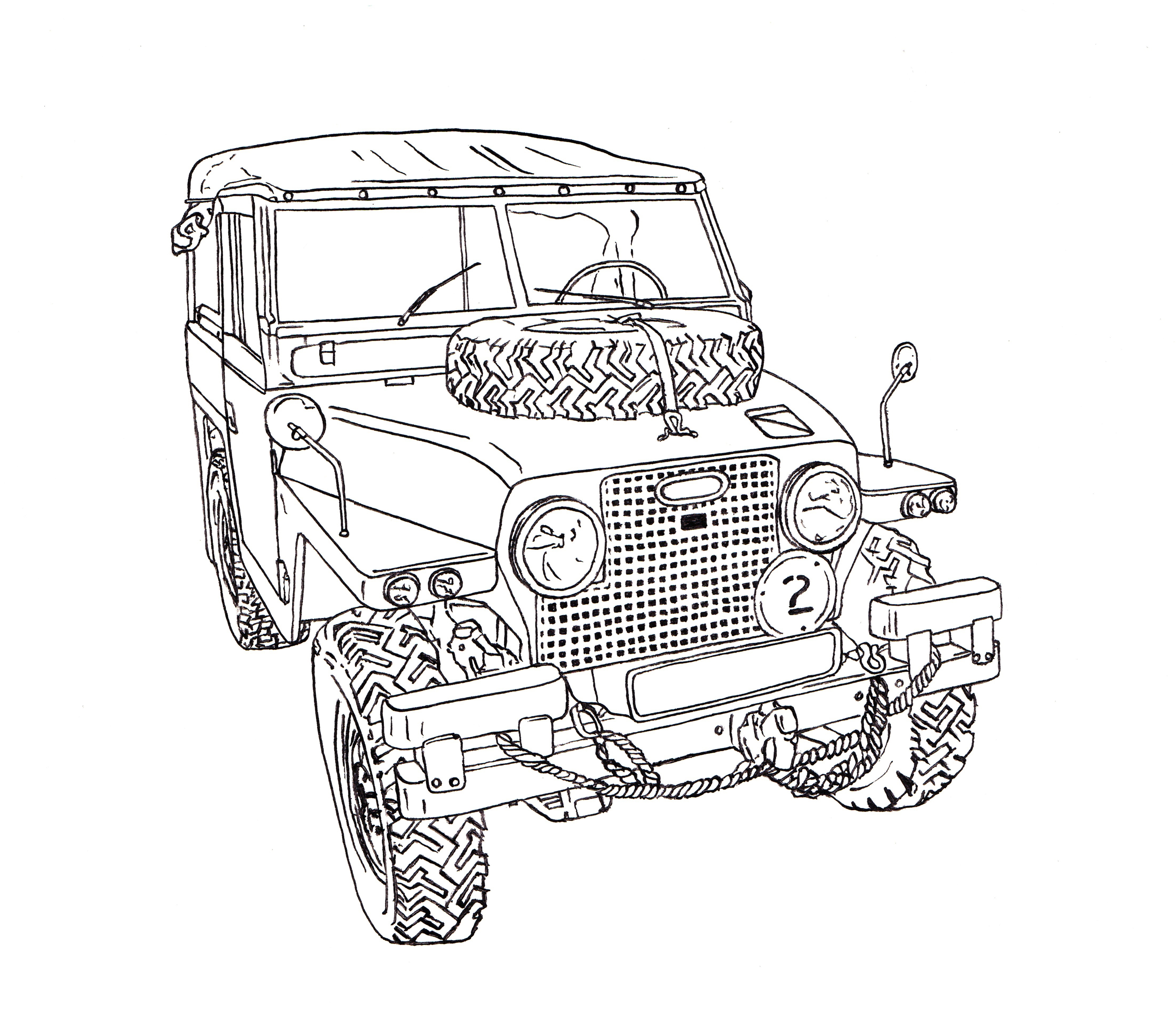 4433x3858 Land Rover Half Ton Lightweight Ink Drawing Landy