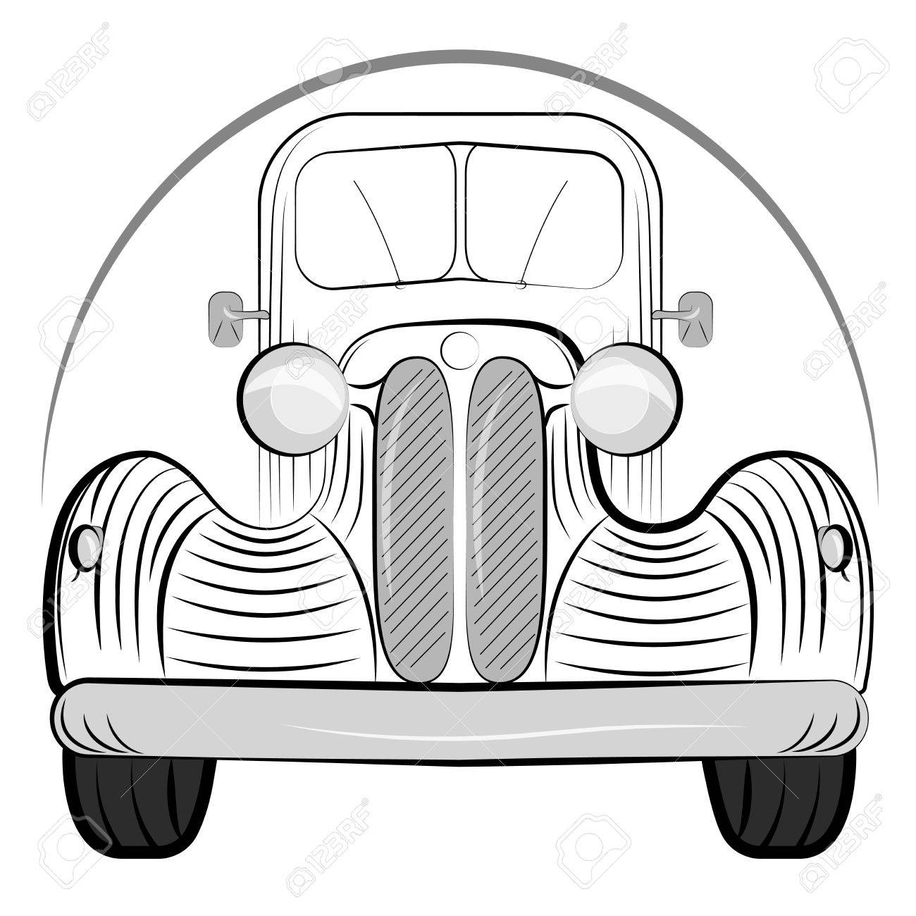 1300x1300 Old Retro Car Side View Vintage Drawing Style. Vector Illustration