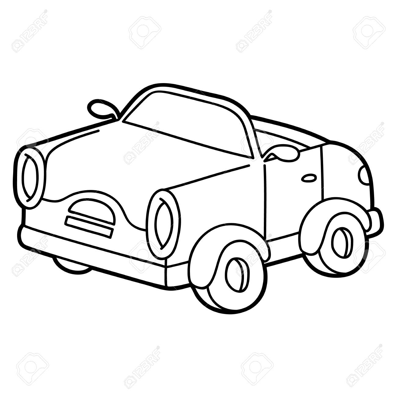 1300x1300 Retro Car For Children, Coloring Page. Royalty Free Klipartlar