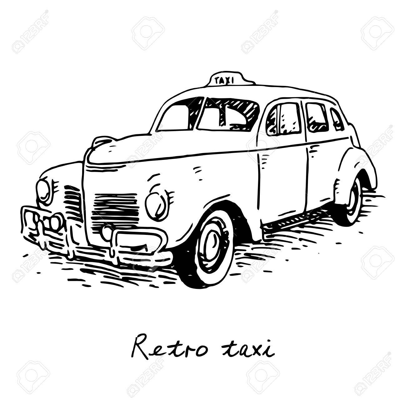 1300x1300 Retro Taxi. Vintage Transport. Old Times. Vector Hand Drawn Sketch