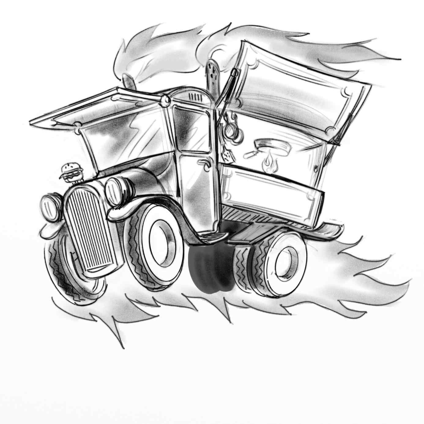 1386x1386 The Images Collection Of Cargo Food Truck Line Drawing Art Free
