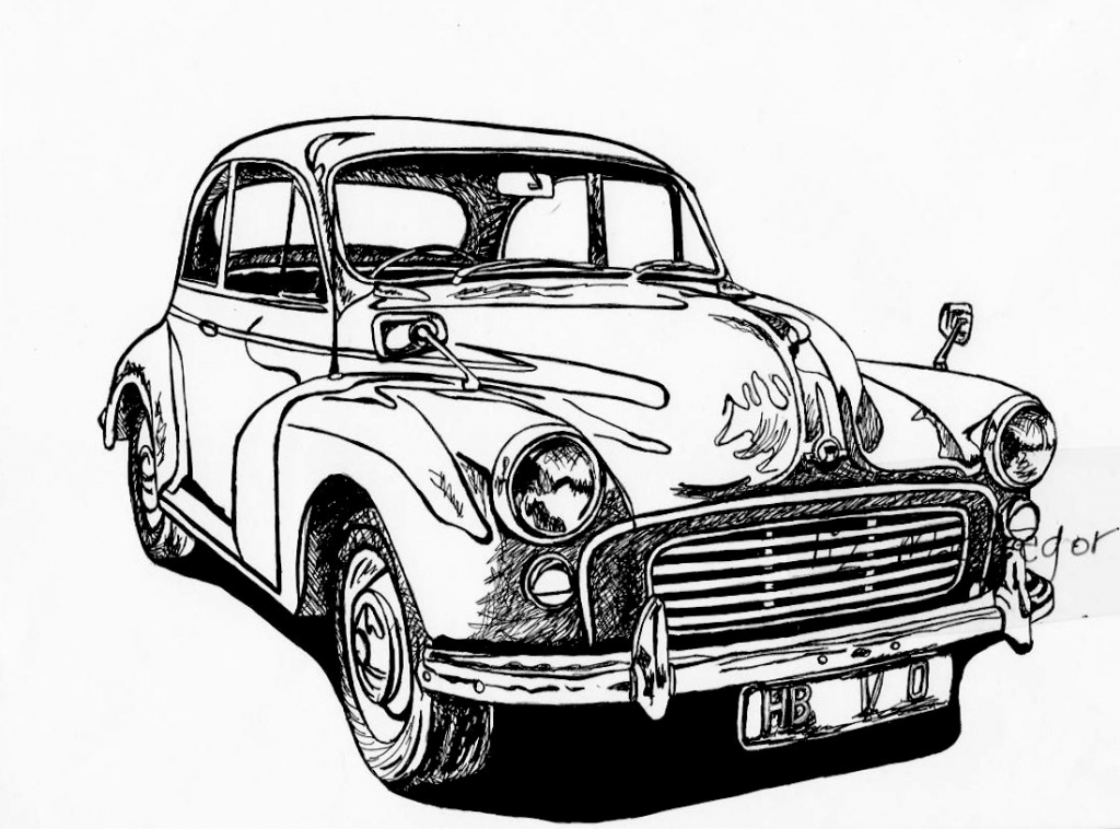 1024x758 Vintage Car Drawing Morris Minor Classic Car Limited Edition