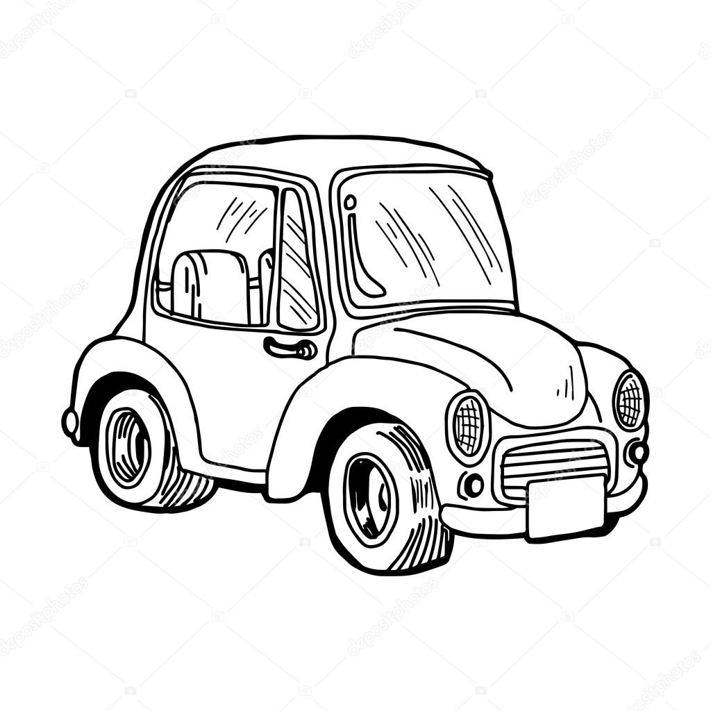 1024x1024 Illustration Vector Doodle Hand Drawn Of A Retro Car Isolated