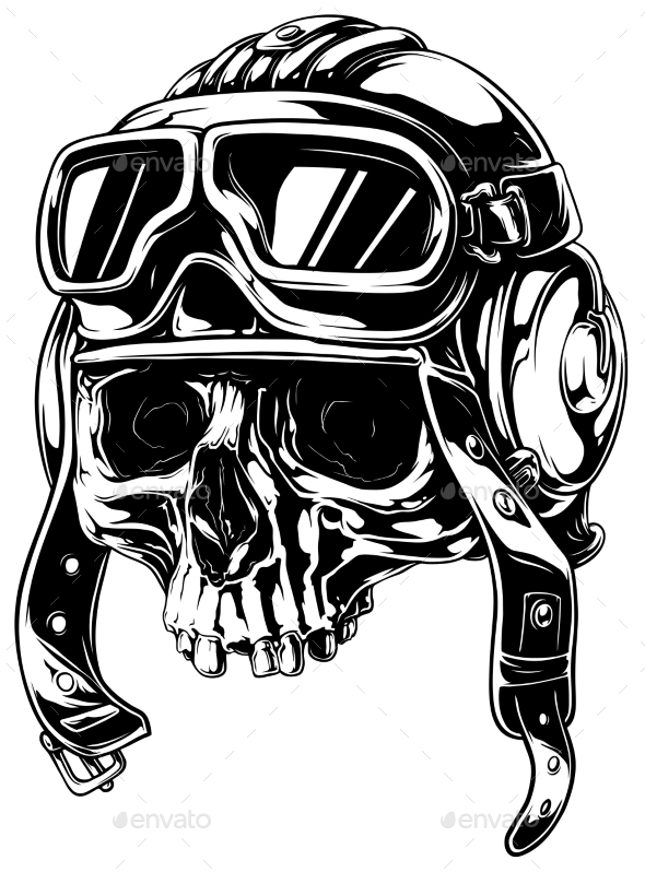 590x798 Graphic Detailed Old Skull In Retro Pilot Helmet By Gb Art
