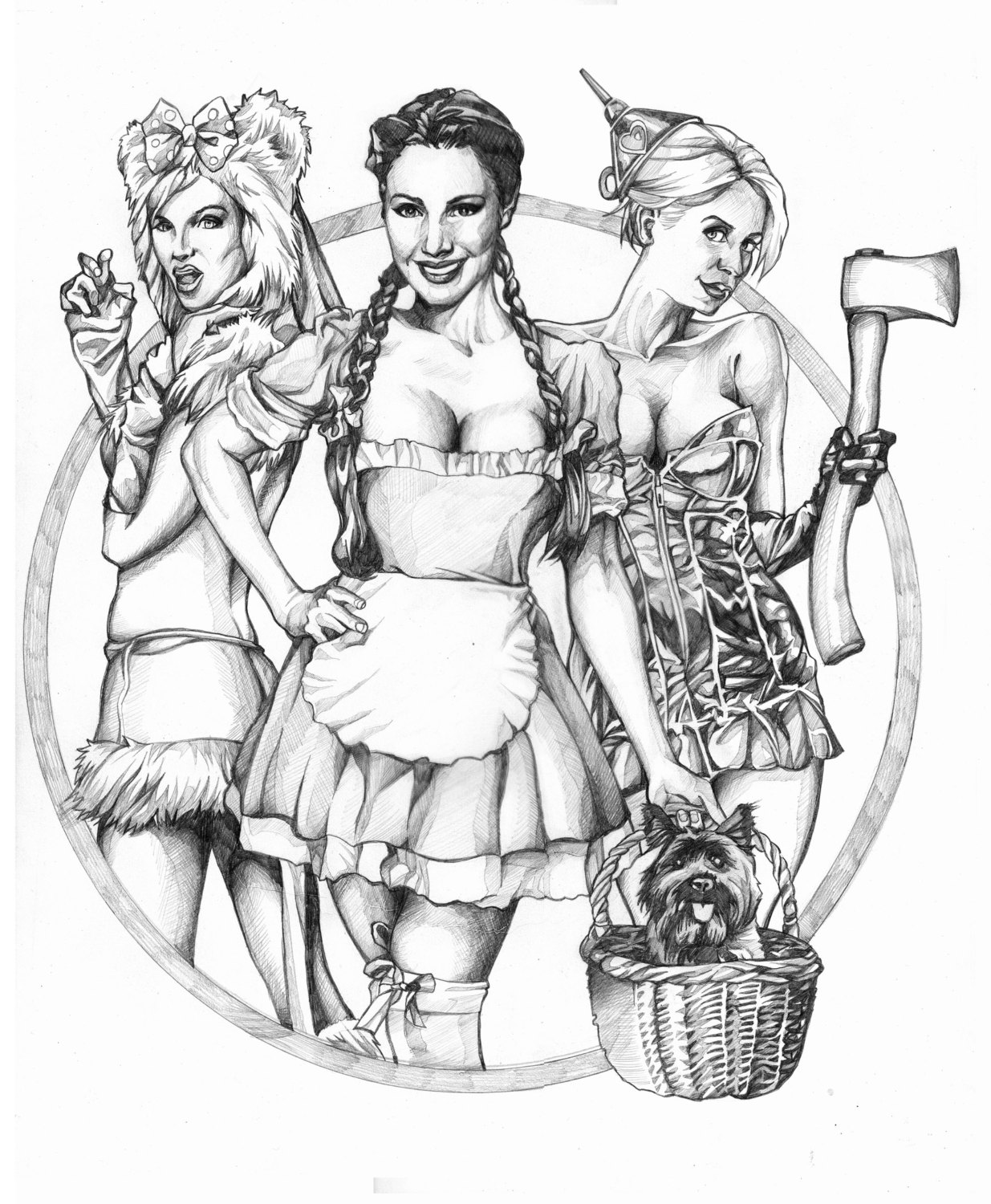 1235x1500 Halloween Wizard Of Oz Retro Pinup Girls Original Drawing