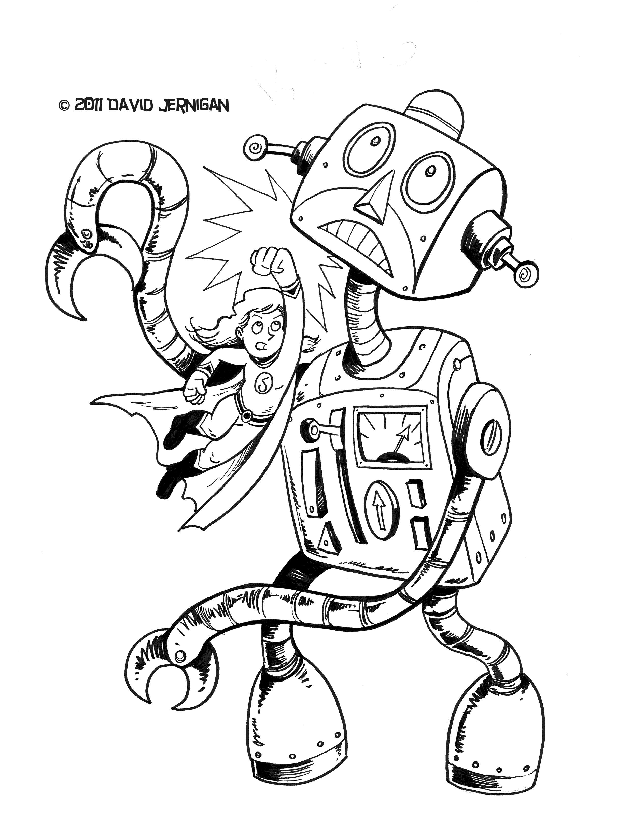 2479x3229 Retro Robot Drawing Sketcharound