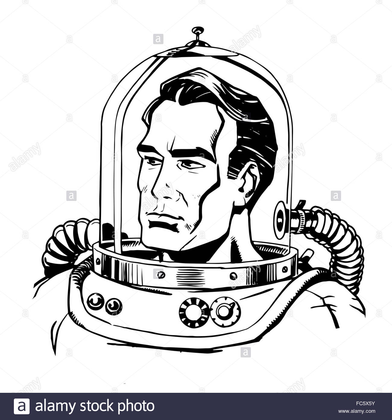 1300x1390 Retro Astronaut Line Art Stock Photo, Royalty Free Image 93558023
