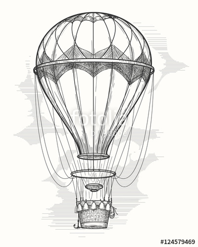400x500 Retro Hand Drawing Hot Air Balloon. Vintage Hot Air Airship Vector