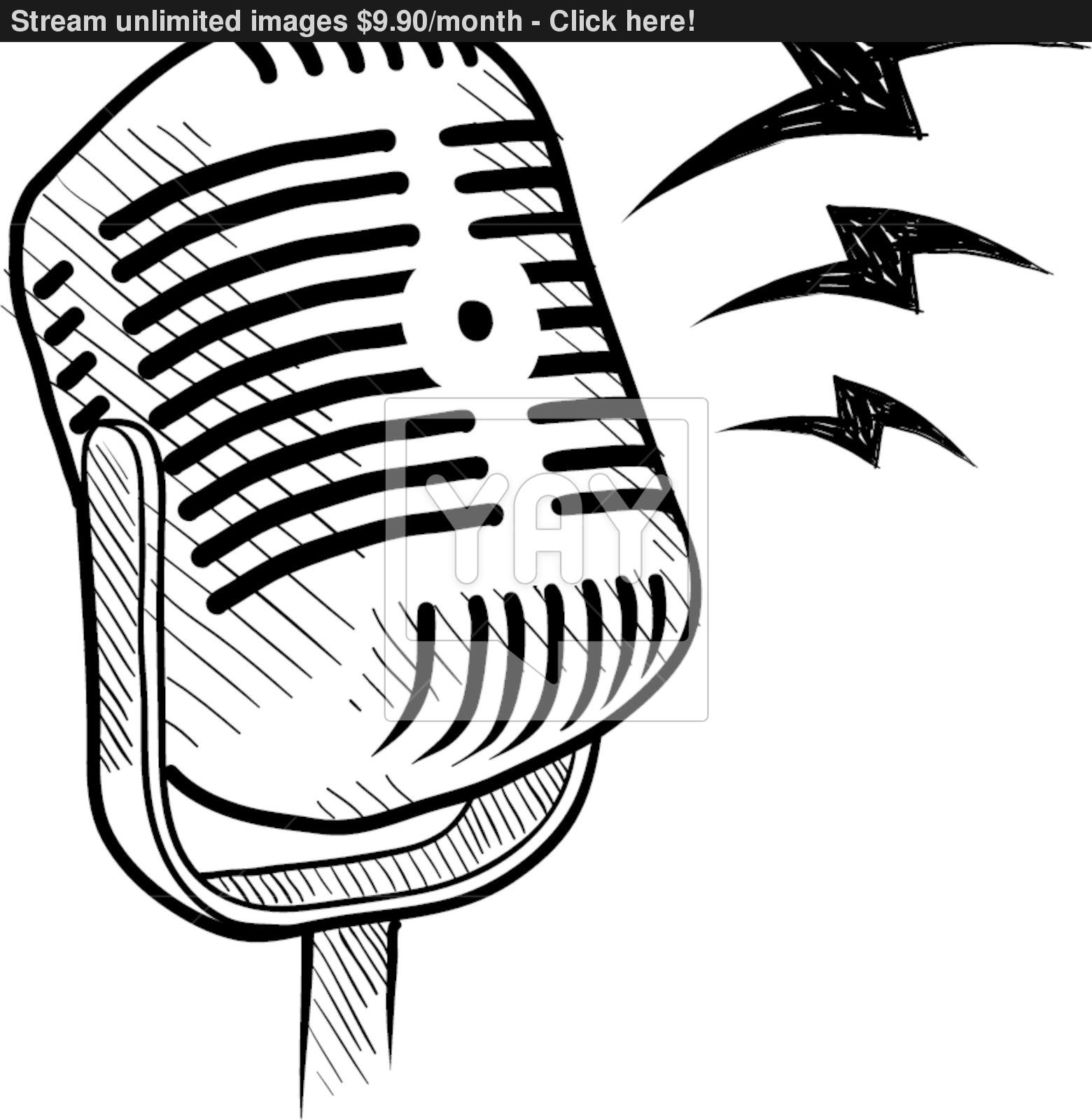 1560x1600 Retro Radio Microphone Sketch Vector