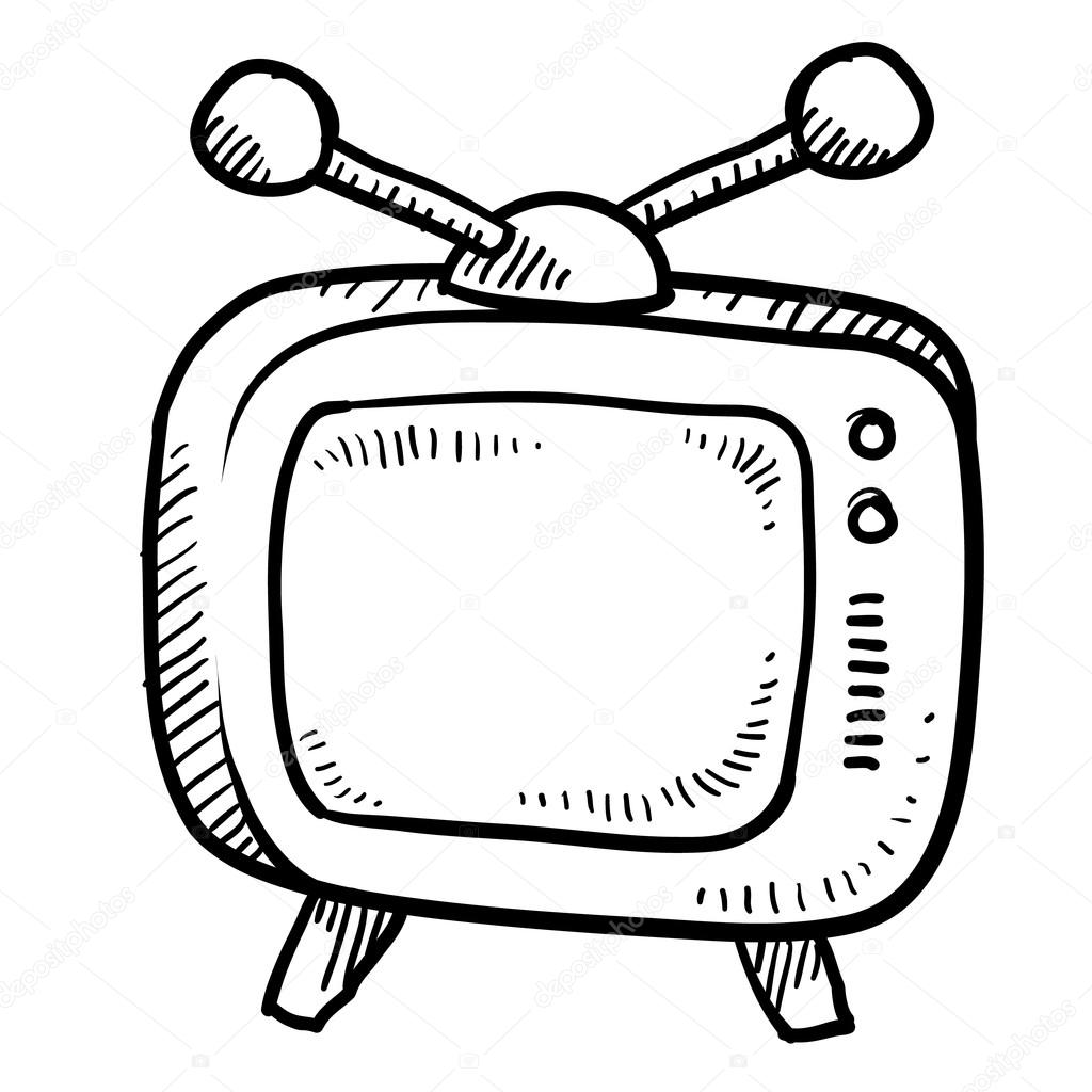 1024x1024 Retro Television Sketch Stock Vector Lhfgraphics