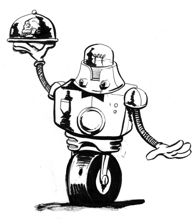 623x700 Sketch Please Retro Robot