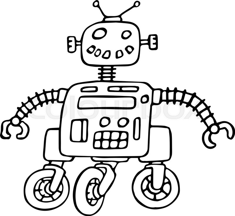 800x734 Cute Robot On Wheels Vector Illustration. Science Fiction