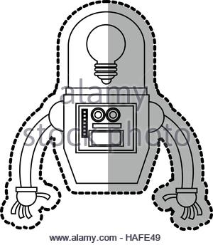 300x344 Isolated Robot Cartoon Design Stock Vector Art Amp Illustration