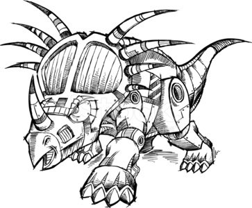 363x300 Robot Cyborg Dinosaur Sketch Stock Vectors