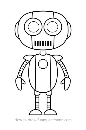 294x445 Robot Drawing (Sketching + Vector)