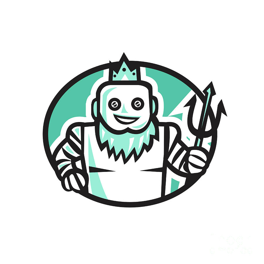 900x900 Robotic Poseidon Holding Trident Oval Retro Digital Art By