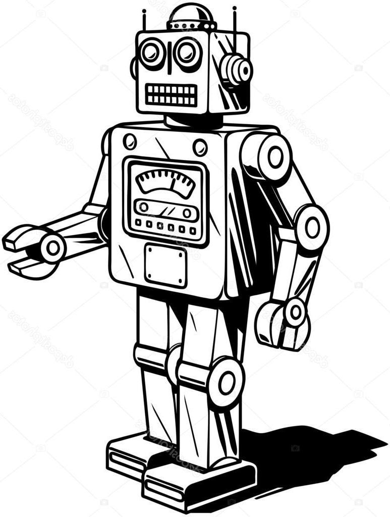 773x1024 Top Stock Illustration Retro Robot Cdr