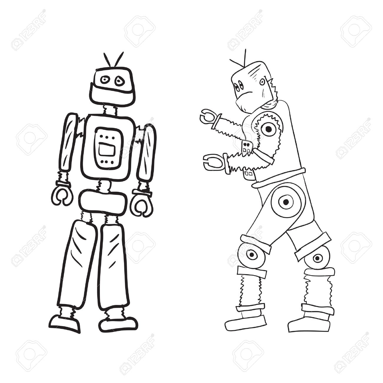 1300x1300 Vector Drawing Of Two Robots In Different Poses. Royalty Free