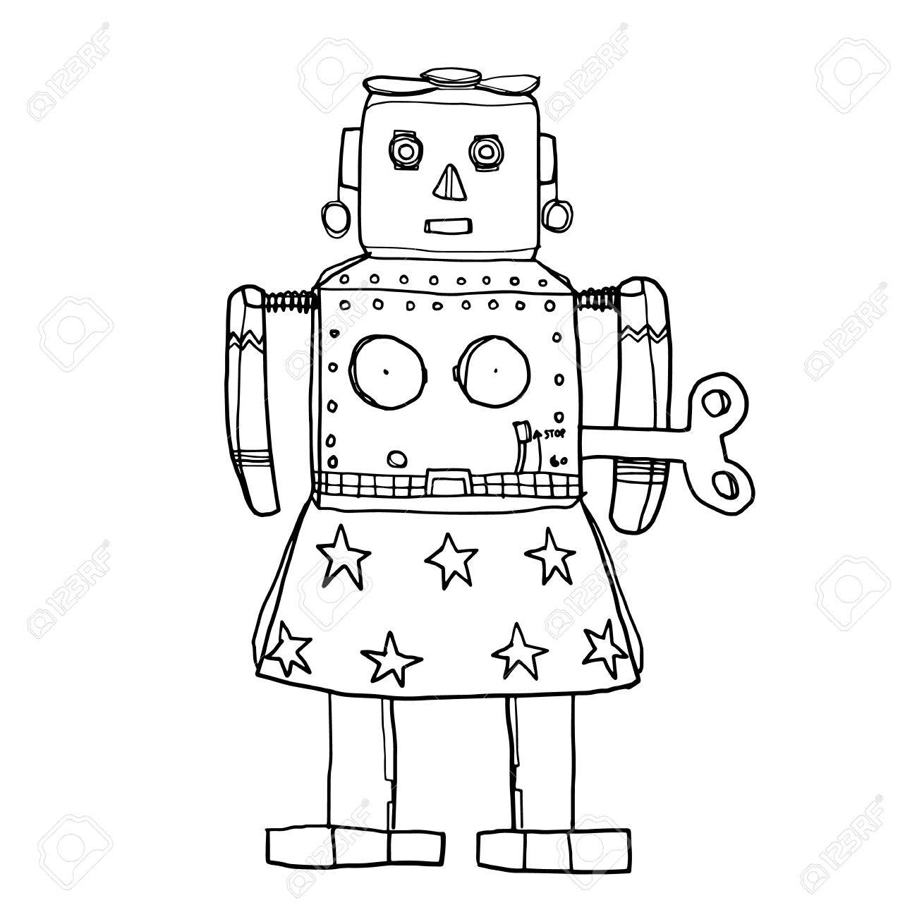 1300x1300 Vector Venus Robot Retrotin Toy Hand Drawn Cute Line Art