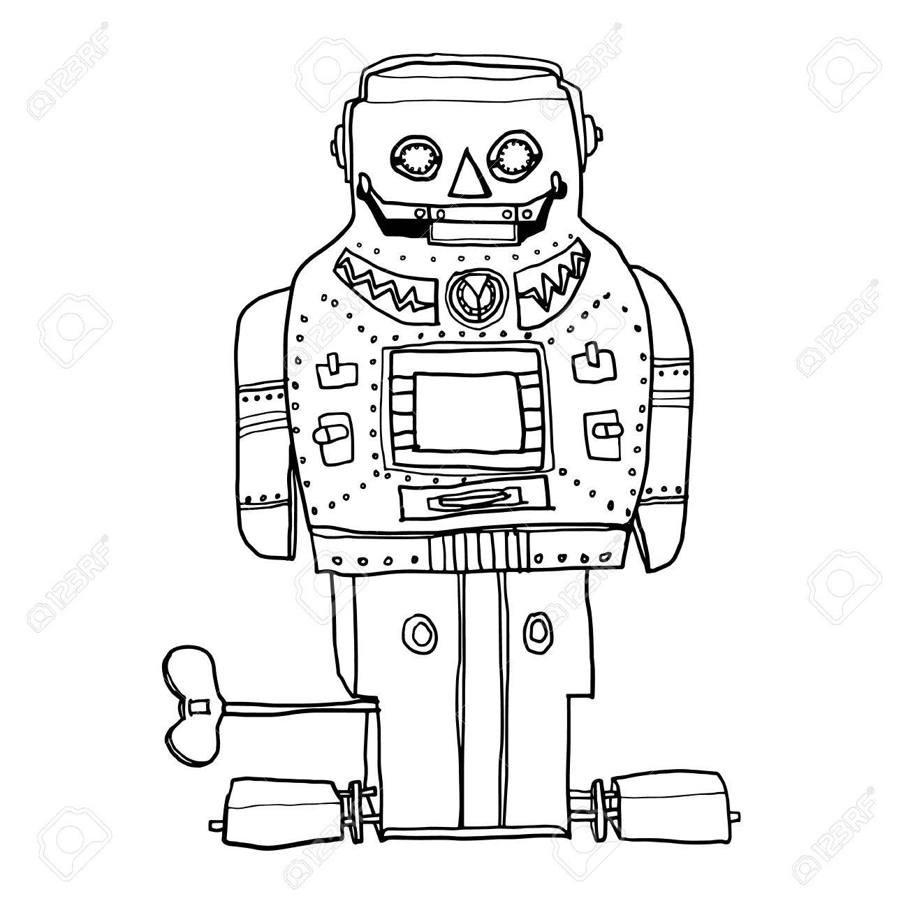 1300x1300 Vector Vintage Robot Toy Sparky Robot Hand Drawn Line Art Cute