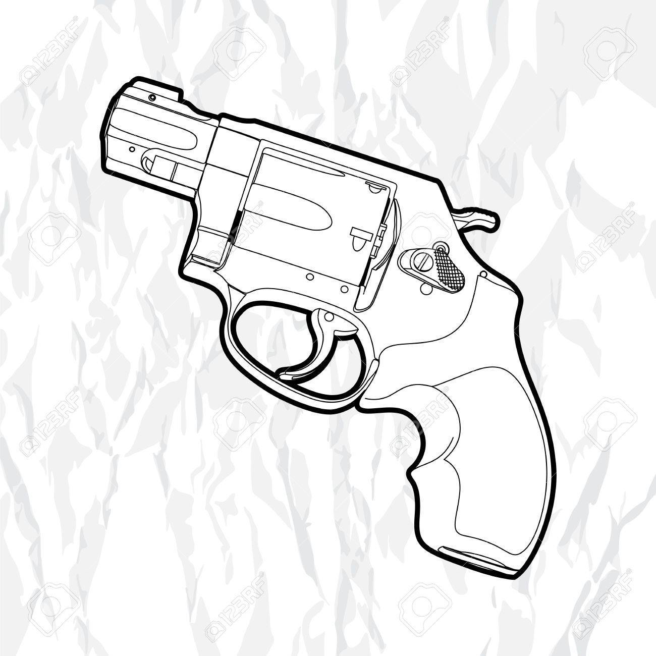 1300x1300 Outline Revolver Gun On White Royalty Free Cliparts, Vectors,