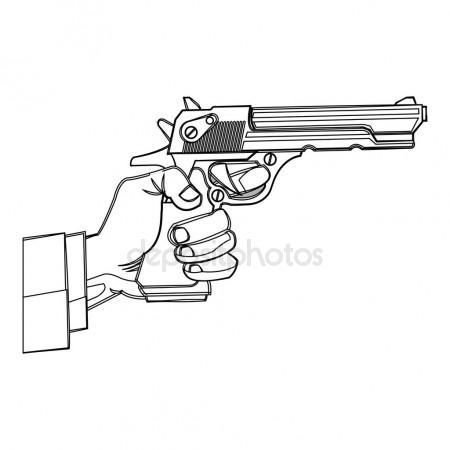 450x450 Sketch Revolver Pistol Stock Vector Nikiteev