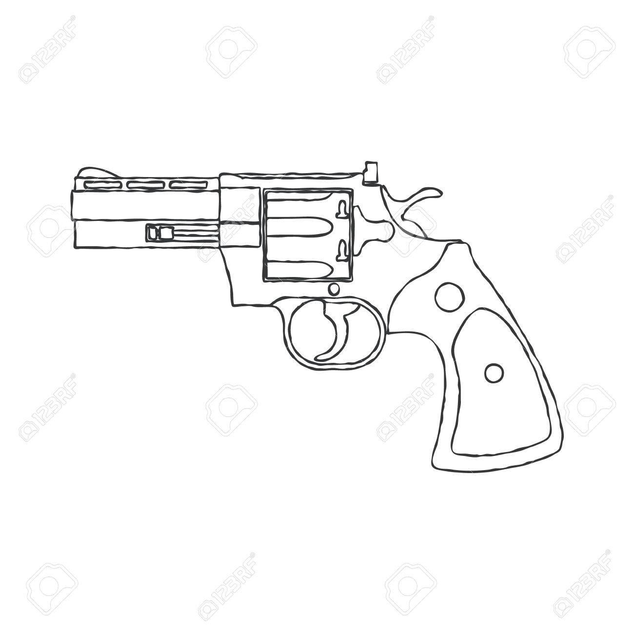 1300x1300 Vintage Revolver Gun. Firearm, Pistol. Vector Illustration Royalty