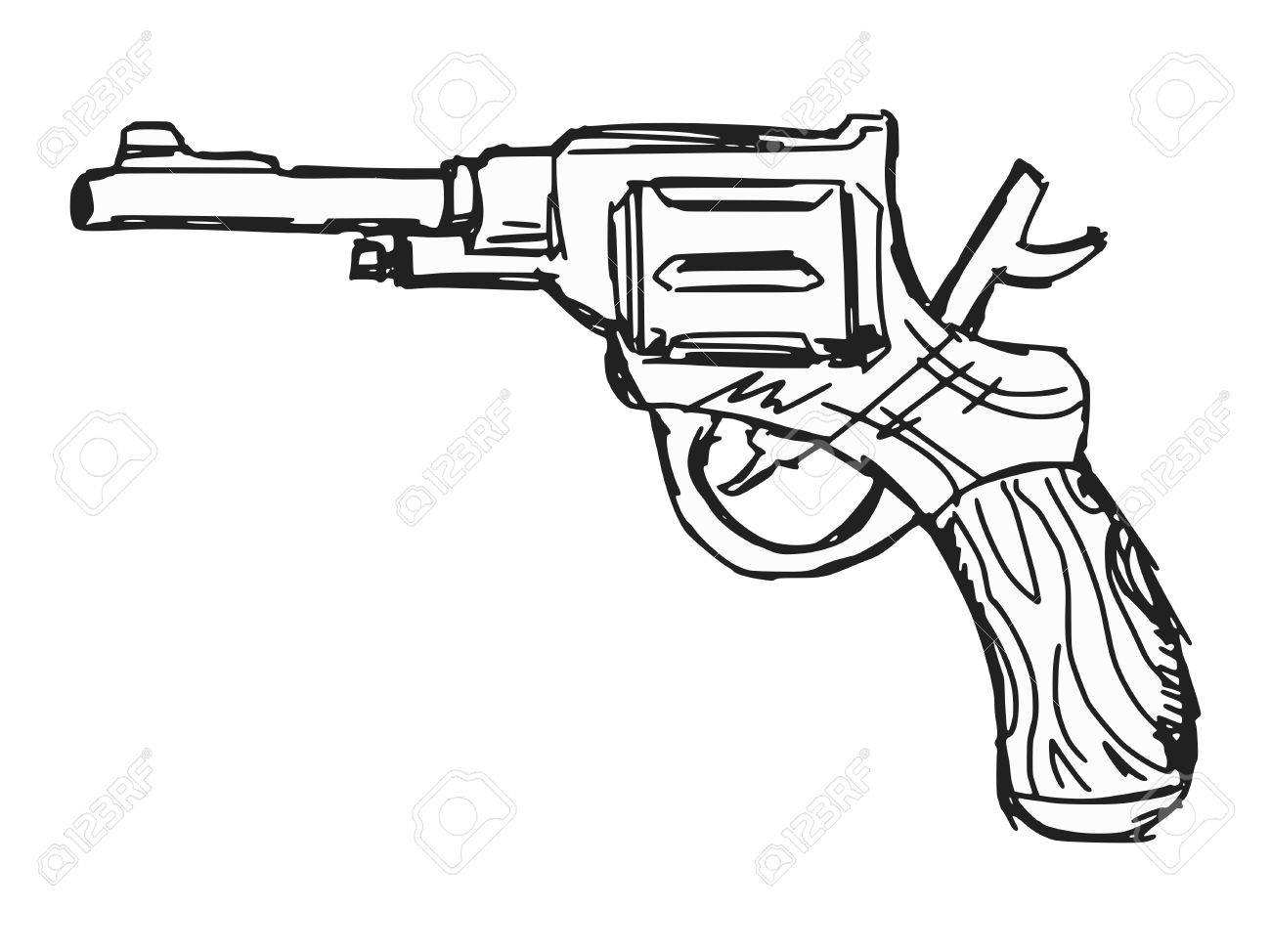 1300x974 Hand Drawn, Sketch, Doodle Illustration Of Revolver Royalty Free