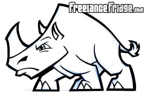 500x338 Stylized Rhino Freelance Fridge Illustration Amp Character Design