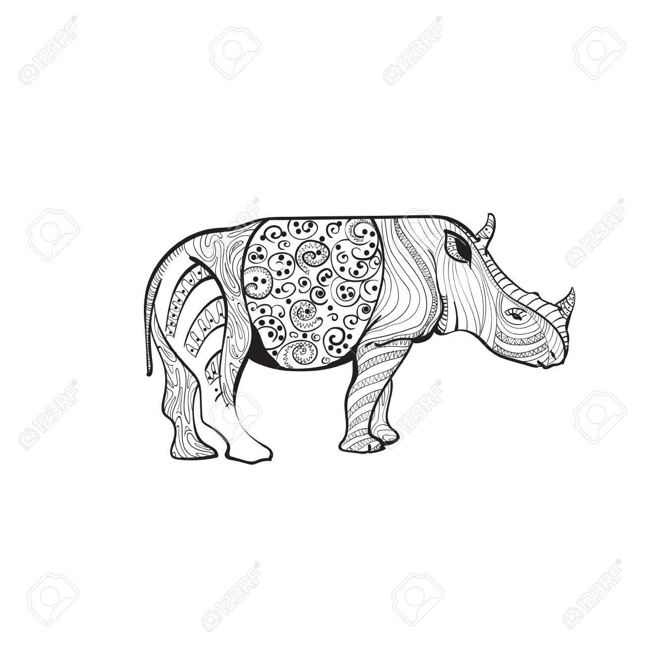 1300x1300 Rhino Drawing Zentangle Animal Full Length On White Background