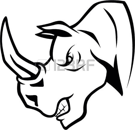 450x436 The Stylized Image Of A Rhino Head. Vector Stylized Face Of Ink