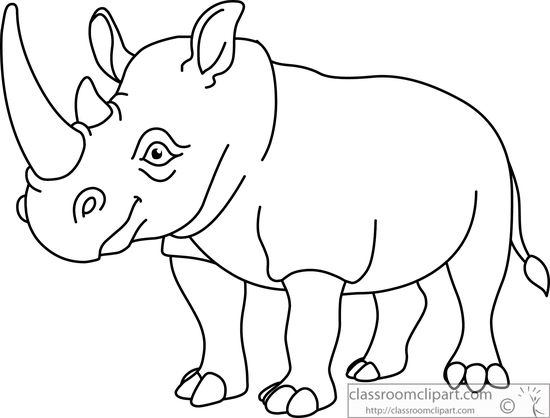 550x418 Animals Clipart African Rhinoceros Clipart Black White Outline