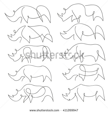 450x470 One Line Rhinoceros Design Silhouette. Hand Drawn Minimalism Style
