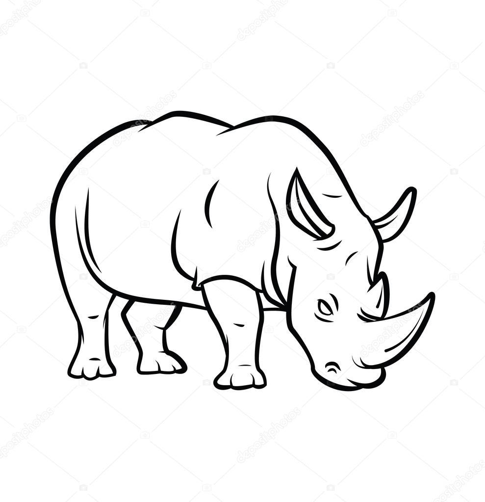 989x1023 Rhinoceros Tattoo Stock Vector Funwayillustration