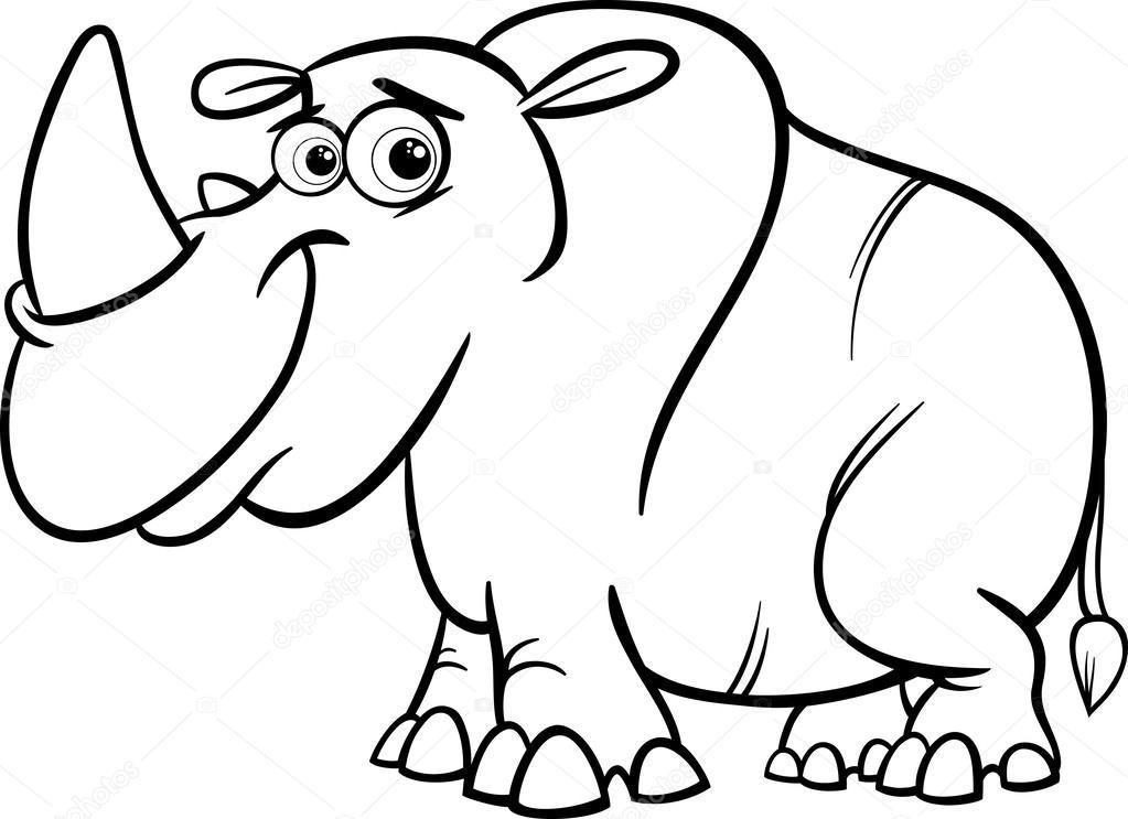 1023x743 Rhinoceros Cartoon Coloring Page Stock Vector Izakowski