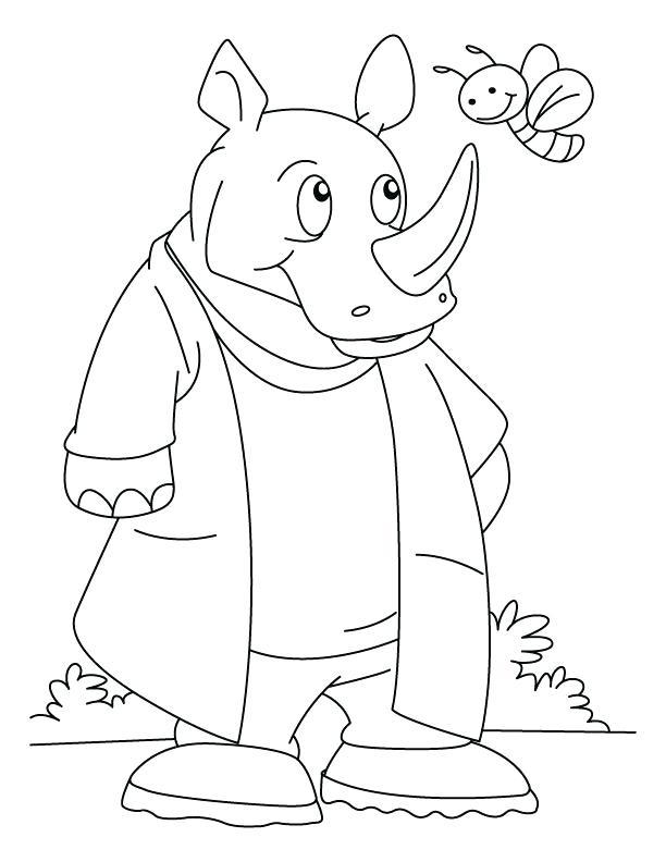 612x792 Delightful Rhino Coloring Page Free Download Rhinoceros Talking