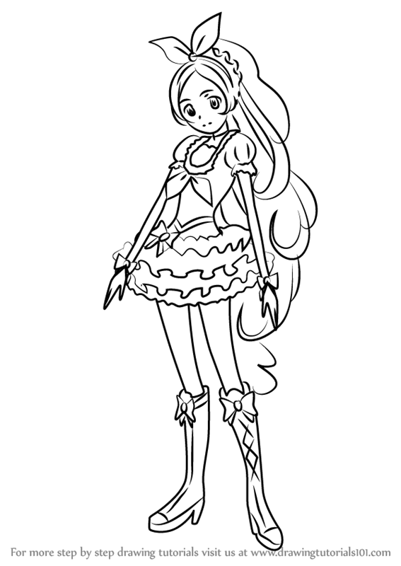 567x800 Learn How To Draw Cure Rhythm From Pretty Cure (Pretty Cure) Step