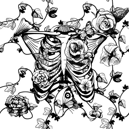 450x450 Vector Illustration Of A Ribcage Surrounded And Covered