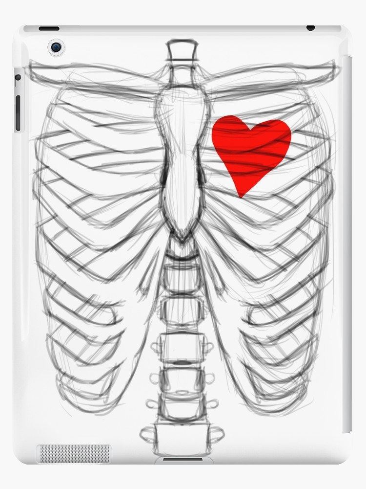 750x1000 Rib Cage Sketch With Heart Ipad Cases Amp Skins By Mattwilldo