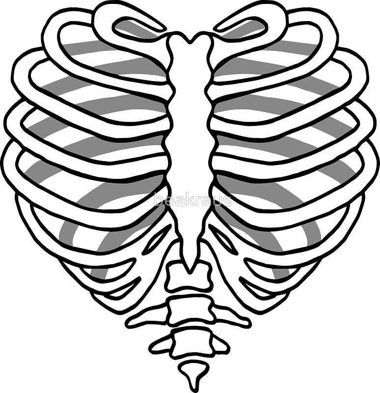 774x800 Skeleton Rib Cage Heart Stickers By Beakraus Redbubble