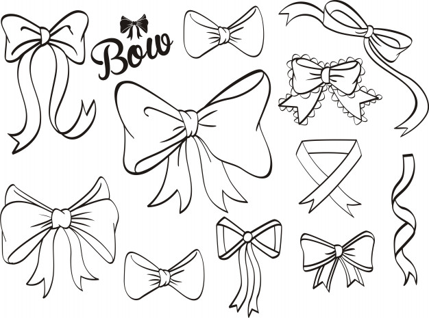626x465 Hand Draw Decorative Ribbon And Bow On Black Board Vector