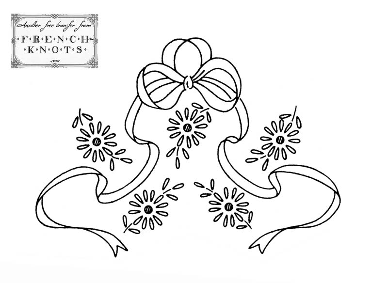 800x584 Free Vintage Bow And Flowers Embroidery Transfer Pattern