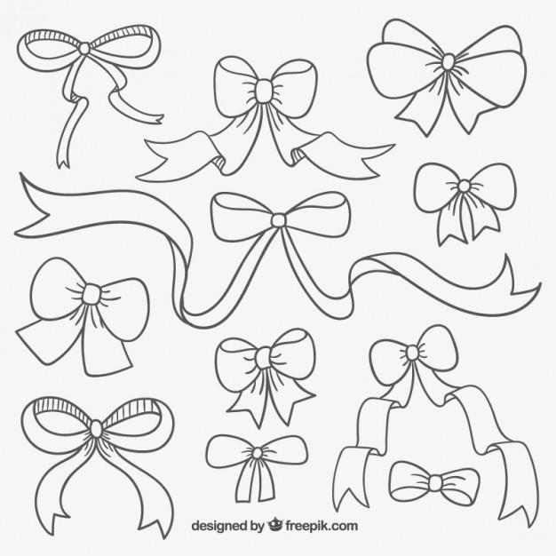 626x626 Cute Hand Drawn Ribbons Vector Free Download