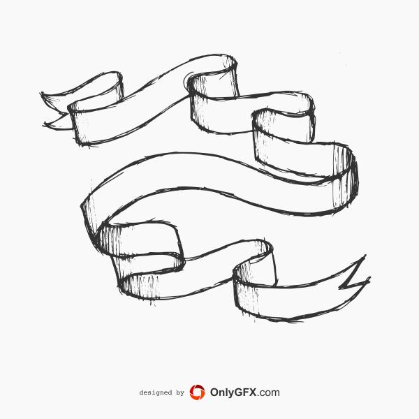 600x600 9 Hand Drawn Banner Ribbon Labels Vector (Eps, Svg, Png) Drawing